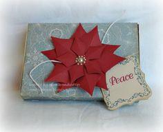 CTMH SOTM Scandinavian set decorates a CTMH Cricut box with Poinsettia and card.