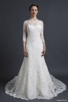 sareh nouri spring 2016 bridal natalie three quarter sleeve lace gown illusion neckline a line silhouette