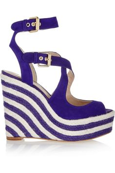 Brian Atwood April suede purple and white espadrille wedge sandals #Wedges
