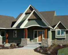 green accent with brick | ... brick base and brown roof, a Simply ...