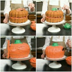 Fear not! Putting together this eye-poppingly orange cake is less trick and more… – Cakes 🍰 Fear not! Putting together this eye-poppingly orange cake is less trick and more… – Cakes 🍰,Essen Fear not! Pumpkin Patch Cake, Pumpkin Shaped Cake, Pumpkin Patch Birthday, Pumpkin Birthday Parties, Pumpkin 1st Birthdays, Pumpkin Birthday Cakes, Fall Birthday Cakes, Birthday Ideas, Thanksgiving Birthday