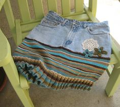 Old denim jeans and sweater upcycled into a cute skirt! (Ravelry: SoCalgurl's Recycled DH jeans skirt -- create an account to see instructions) Not COMPLETELY convinced.