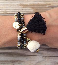OOAK SET: 3 beaded bracelet in dark colors with by BonkIbiza
