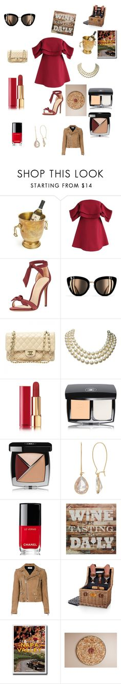 """Wine time"" by teddybearpeace ❤ liked on Polyvore featuring Chicwish, Alexandre Birman, Chanel, Yves Saint Laurent, Picnic Time and Assouline Publishing"