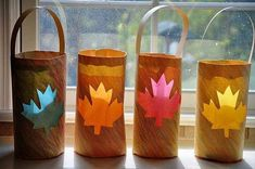 2014 Thanksgiving Great Paper Leaf Fall Crafts  for Kids  - DIY Little Bag  #2014 #Thanksgiving
