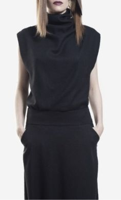 Woven silk Black turtleneck vest | Tees #fashion #style #tops