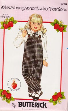 1980s Strawberry Shortcake Girls Blouse and Jumpsuit with Strawberry Buttons, Size 5-6-6x, Butterick Sewing Pattern 4884 by TheGrannySquared on Etsy