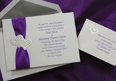 Double Heart Invitation with Purple Satin Ribbon