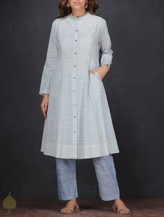 Ivory-Blue Checkered Handloom Cotton Kurta by Jaypore