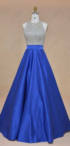 Royal blue crystal sparkly prom dresses long halter ball gown prom dresses backless pageant dresses