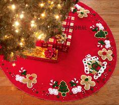 "Bucilla Christmas Felt Tree Skirt Kit ""gingerbread House"" for sale online Mickey Mouse Christmas Tree, Disney Christmas Decorations, Felt Christmas, Christmas Time, Christmas Crafts, Christmas Ornaments, Holiday Decor, Xmas Tree Skirts, Felt Tree"