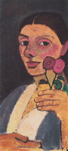 The Athenaeum - Self-Portrait with Two Flowers (1907) (Paula Modersohn-Becker - )