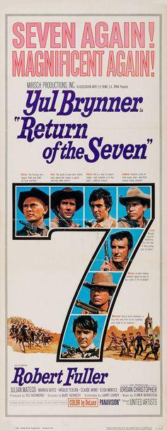Return Of The Seven (1966) Larry Cohen, Elmer Bernstein, Warren Oates, Chris Roberts, Robert Fuller, Yul Brynner, The Magnificent Seven, Next Film, Western Movies