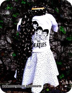 Lenço Gatinhos Camiseta Infantil The Beatles Saia com Tule  www.elo7.com.br/dixiearte