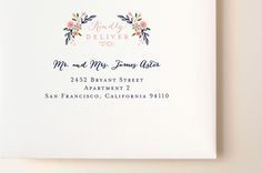 """""""Wildflower Crest"""" - Floral & Botanical Wedding Invitations in Navy by Alethea and Ruth."""