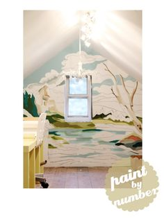 DIY paint by number wall mural (this site links to original source and an idea for using a projector to get the image up there. Space Painting, Mural Painting, Diy Painting, Faux Painting, Paintings, Number Art, Pencil Boxes, Wonderwall, Wall Treatments