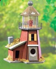 Extremely Unique Birdhouse Designed as a Lighthouse Wooden Bird Houses, Decorative Bird Houses, Bird Fountain, Birdhouse Designs, Outdoor Living, Outdoor Decor, Bird Feeders, Backyard, Birdhouses