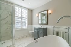 Curchods - Cobham present this 4 bedroom detached house in Cobham Attic Bathroom, Family Bathroom, Bathroom Kids, Bathroom Interior, Bathroom Curtains, Bathroom Plans, Bathroom Inspo, Bathroom Designs, False Wall