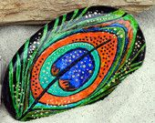 Enchanted Peacock / painted rock / Sandi Pike Foundas / Cape Cod / painted sea stones