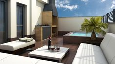 Take good note of the best ideas to enjoy a wonderful jacuzzi outside your house. Rooftop Design, Terrace Design, Rooftop Terrace, Small Backyard Pools, Small Pools, Outdoor Living, Outdoor Spaces, Outdoor Decor, Jacuzzi Outdoor