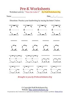 kids worksheets pre-k | Pre-K Worksheets Alphabet Tracing | Pre K Worksheets Org