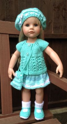 AMERICAN GIRL DOLL GOTZ HANNAH DESIGNAFRIEND 5pc HAND KNITTED OUTFIT