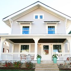 Siding-Essential Grey Sherwin Williams 6002 SATIN Exterior C Trim-Alabaster Sherwin Williams 7008 Less Brown Alabaster- Sherwin Williams 6040 Good Bones Hgtv, Farmhouse Plans, Big Houses, Classic House, Humble Abode, House Rooms, My Dream Home, Exterior Design, Beautiful Homes