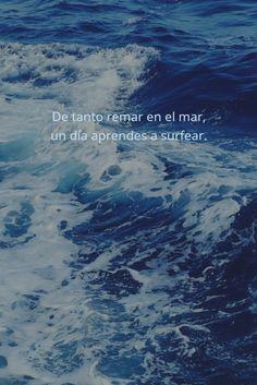 De tanto remar en el mar, un día aprendes a surfear.  #inspiracion #cita #surf…