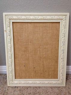 DIY burlap picture frame: burlap, frame, mod podge, bulldog clips
