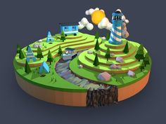 Low Poly Camping Landscape: