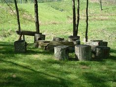 I love idea of using tree stumps for seats around a fire pit. It just looks so natural.