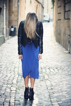 cobalt and black leather.