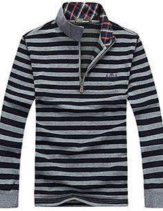 Fall Winter Mens Stripe Colors Stand Collar Zipper Long Sleeve Polo T-shirts