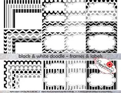 FREE Black & White Doodle Frames and Labels Digital Borders by Poppydreamz from Poppydreamz Digital Art on TeachersNotebook.com -  (1 page)  - Digital frames and borders in black and white stripes, polka dots and chevron