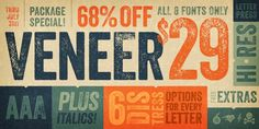 Veneer from Yellow Design Studio is a high resolution hand-crafted letterpress font that's vintage and authentic with a touch of grunge. #font