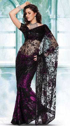 SD1071A63 Black And Purple Net And brasso Saree - IndiaBazaarOnline Shopping Store - Shop with confidence