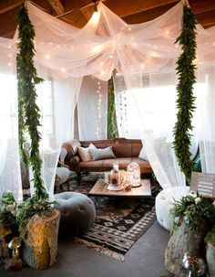 Give your reception a bohemian chic lounge area for your guests to relax in!