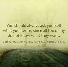 You should always ask yourself what you desire, since all too many do not know what they want. ~Carl Jung, Liber Novus, Page 249, Footnote 190.