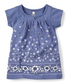 Love this Tea Collection Huckleberry Floral Split-Neck Dress by Tea Collection on #zulily! #zulilyfinds