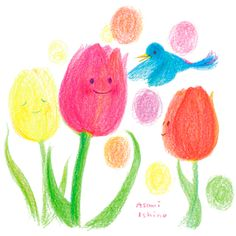 Birds and tulips in the spring
