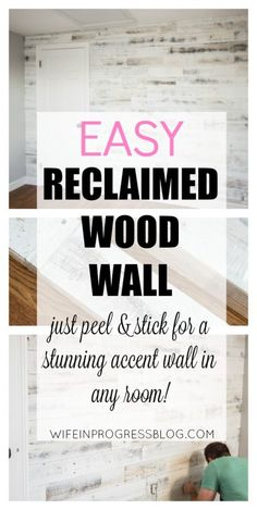 rustic reclaimed wood wall   easy shiplap   wood accent wall
