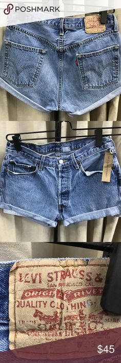 """Levi's 501 high waisted denim shorts 33w 41""""hips, 11"""" rise 100% cotton  Levis 501 denim cut off shorts, button fly. Vintage and sold as is. They run 1-2 sizes smaller than regular denim shorts so I recommend to buy at least one size larger. Its best to know your waist and hips measurements to ensure shorts that fit. If they do not fit, no exchanges. All sales are final, no exchanges or returns as per policy, no trades. Please do not use my photos without my permission. Price firm. Levi's…"""