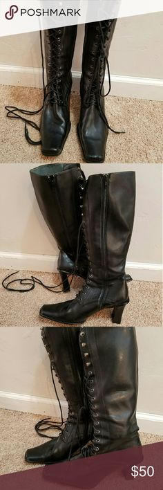 Brand new black lace up boots Black lace up boots Shoes Lace Up Boots
