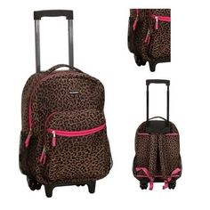 Rolling Wheeled Backpack Book-Bag Roller Travel Luggage Carry On School Laptop #Bookbag