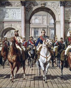 Napoleon III and the Sovereigns exiting the Arc de Triomph du Carrousel with the Tuileries Palace behind them. This is my favorite portrait of the Emperor. Palais Des Tuileries, Franz Xaver Winterhalter, Stoner Art, French Empire, Second Empire, French Army, Chivalry, Sketch Painting, Museum Of Fine Arts