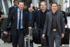 Jason Spezza, Milan Michalek and Erik Karlsson. And their suits. Hockey Players, Milan, Suit Jacket, Swimming, Mens Fashion, Suits, Boys, Ottawa, Drop