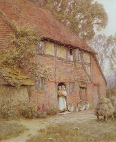 the cottage with beehives framed prints, victorian; half timber; mother; child; beehive; rural; c19th; c20th; cottage