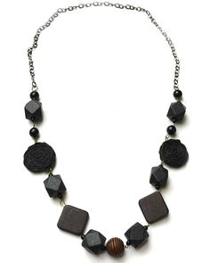 Gold Jewelry: Unique Necklace, Pretty Necklace, Black Wood Chain Necklace- Missagi London
