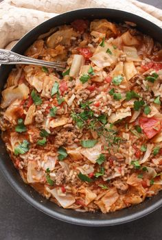 Lazy cabbage rolls, also known as unstuffed cabbage rolls, this one skillet delicious recipe is fast and easy. The perfect weeknight/weekend meal.|anitalianinmykitchen.com