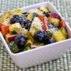 Kalyn's Kitchen: Recipe for Marinated Zucchini Salad with Olives, Artichokes, Red Pepper, and Red Onion